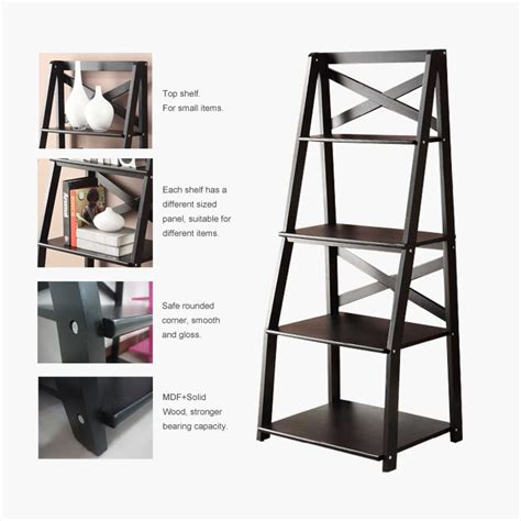 wall shelve ladder bookcase wood bookshelf stand storage