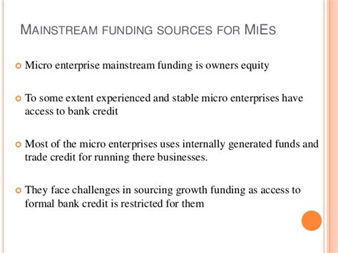 Formal Credit Risk Alternative Sources Of Funding For Micro Enterprises