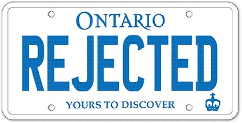 Ontario Vanity Plates by Ontario Vanity Licence Plates Rejected For Violence