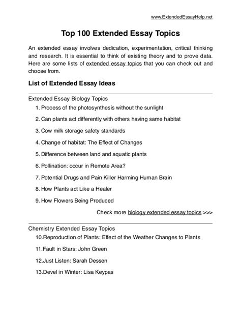 Extended Essay Topics Physics by Top 100 Extended Essay Topics