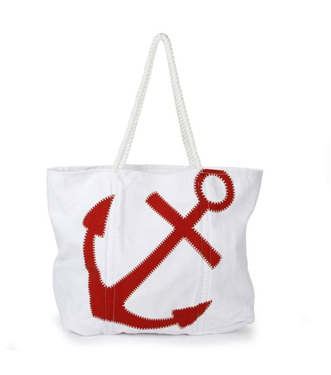 nautical canvas oxford big canvas tote nautical white with anchor jo