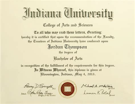Indiana Mba Program by Indiana Bloomington Gold Embossed Diploma Frame