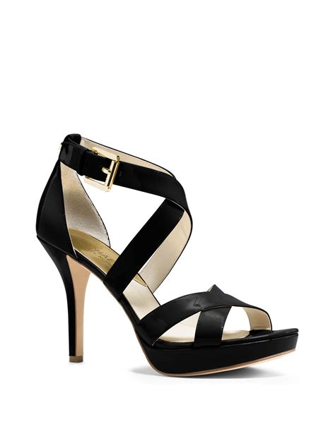 michael kors patent leather sandals michael michael kors evie patent leather stiletto sandals