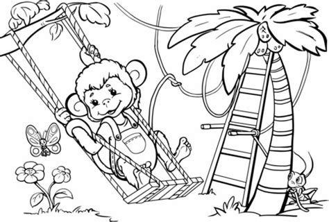swinging monkey coloring page monkey is swinging from the tree coloring page free