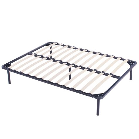 Twin Size Wood Slats Metal Bed Frame Platform Bedroom Metal Frame Bed With Mattress