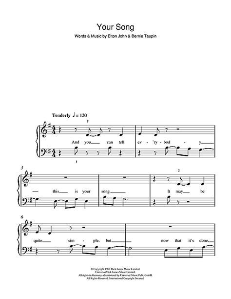 tutorial piano elton john your song sheet music by elton john 5 finger piano 103125