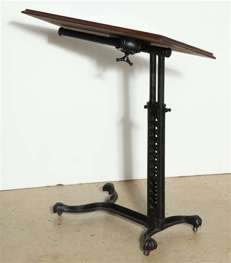 rolling adjustable bedside table adjustable rolling bed side table at 1stdibs