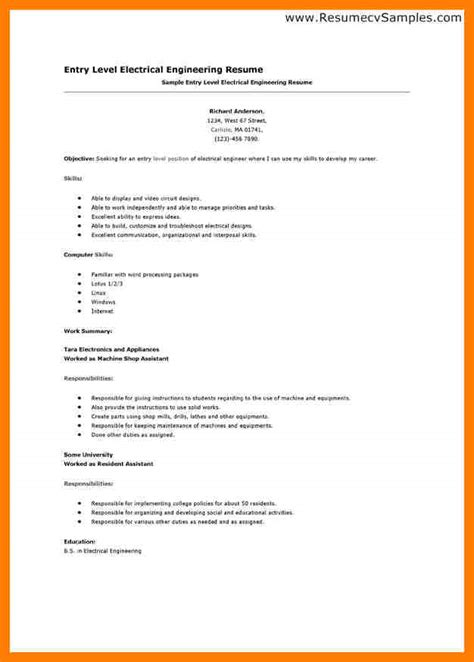 Resume Exle Of Electrician 4 entry level engineering resumes lpn resume