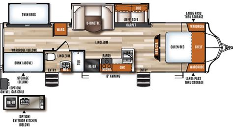 travel trailer bunkhouse floor plans vibe 308bhs extreme lite bunkhouse travel trailer rv