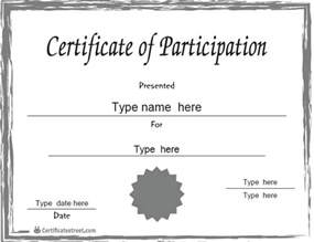 Participation Certificate Template by Blank Participation Certificate Template Just B Cause