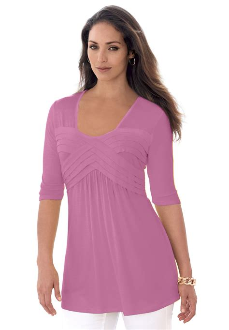 pleated tunic plus size clearance