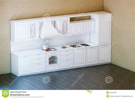 Kitchen Cabinet Design For Apartment classic white kitchen cabinet with parquet floor stock