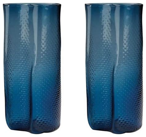 Navy Blue Glass Vases by Shop Houzz Speckle Textured Navy Blue Glass Vase Set Of 2 Vases