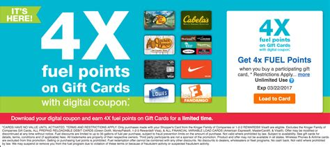 Kroger Gift Cards 4x Points - kroger 4x fuel points on gift cards until march 22 doctor of credit