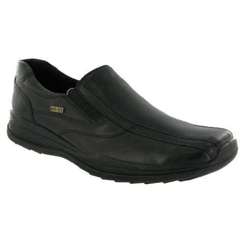 cotswold naunton black leather waterproof slip on shoe