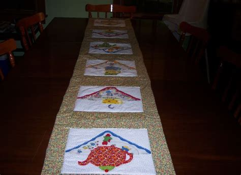 across my kitchen table table runners with a tea theme