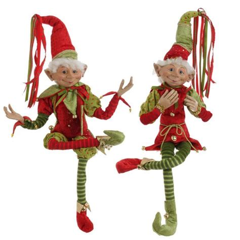 christmas elf in red santa suit posable decoration 30