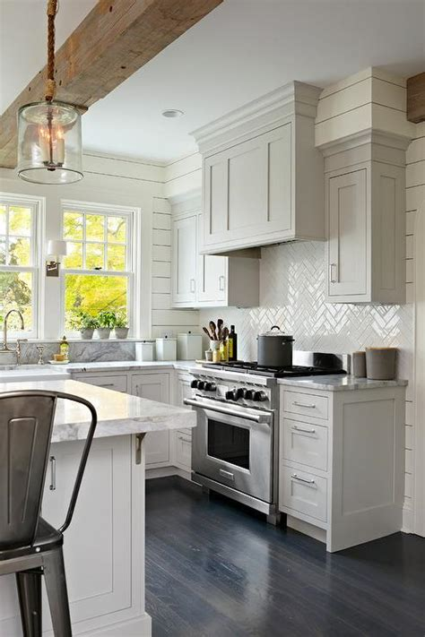 light gray backsplash stained oak kitchen design ideas page 1