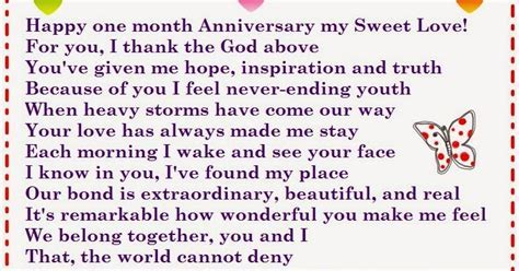 With a lovely feeling send these one month anniversary