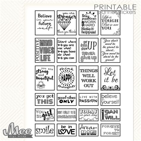 printable white stickers black white quote stickers motivational quotes planner