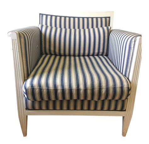 blue and white striped club chair blue white striped club chair chairish