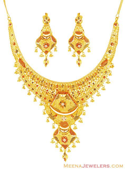 22k gold tricolor necklace set stgo16063 us 3 754
