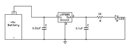 12v resistor to 9v voltage regulator using 7805 reducing from 9v to 5v
