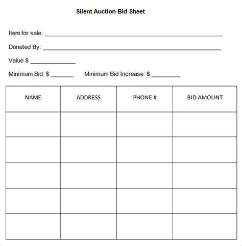 bid sheet template free silent auction bidding sheet template for
