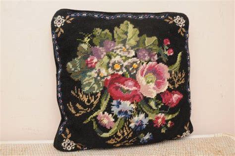 vintage roses needlepoint throw pillow black