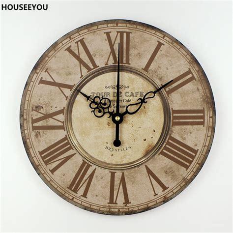 home decor wall clock home decor mute quartz wall clock retro roman numerals