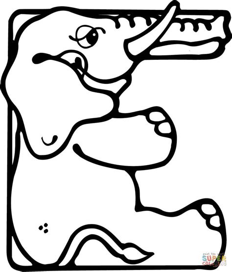 coloring pages with e letter e is for elephant coloring page free printable