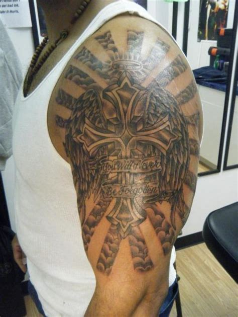 great cross tattoos christian half sleeve tattoos religious half sleeve b
