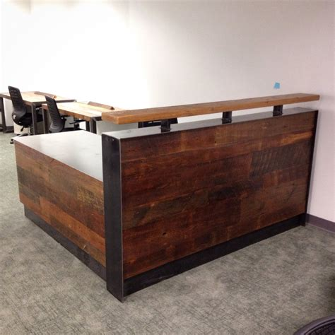 Wooden Reception Desk Reclaimed Wood Steel Reception Desk