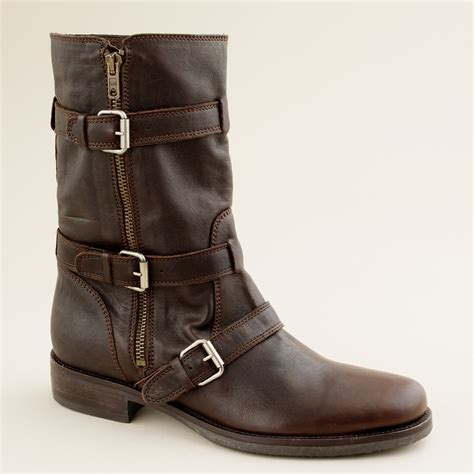 brown moto boots j crew miller short motorcycle boots in brown lyst