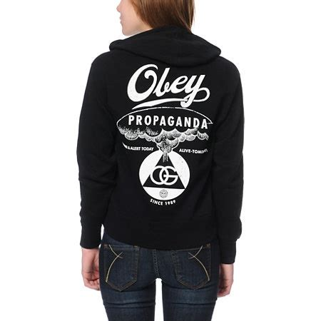 Hoodiezipper Obey obey nuclear attack black zip up hoodie hoodies
