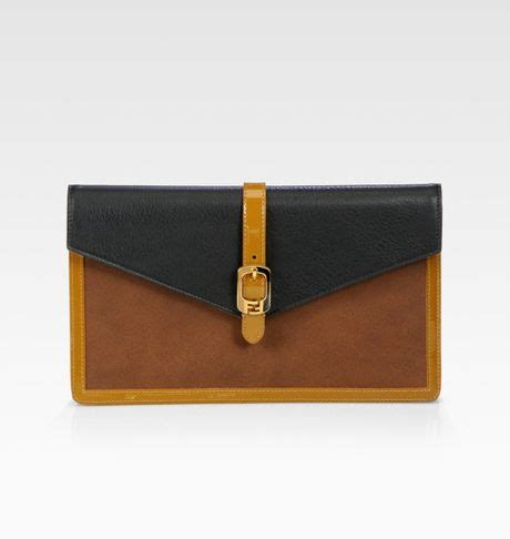 Fendi Letter Clutch by Fendi Chameleon Bustina Patent Leather Leather Clutch In