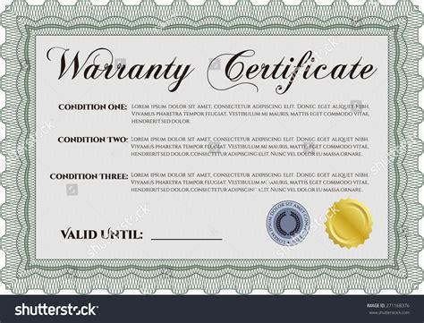 green warranty certificate template stock vector 271168376