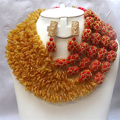 Statement African Coral Jewelry Beads Jewelry Set