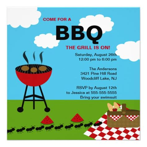 cookout invitation template summer bbq cookout invitation 5 25 quot square invitation card