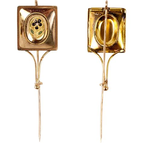 One Treasure Pin v 1700s palais royal 18k gold kiln fired enamel cravat pin tie antiques uncommon