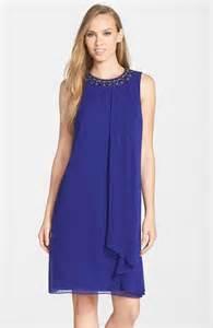 vince camuto embellished layered chiffon shift dress