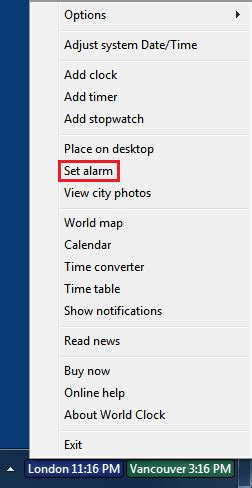 setting an alarm in world clock
