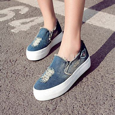Wedges 0416 White s shoes denim flat heel platform creepers toe loafers outdoor casual blue light