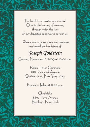 sample invitation unveiling tombstone image collections