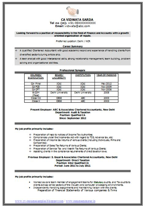 resume format in ms word 2007 for accountants 10000 cv and resume sles with free ca resume template