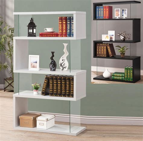 asymmetrical cube bookcase with shelves modern white black long floating shelf bookcase