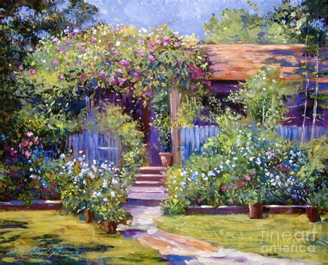Cottage Garden Paintings by Garden Summer Cottage By David Lloyd
