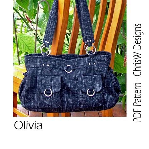 tote bag pattern with lots of pockets purse pdf pattern for a handbag olivia bag with by