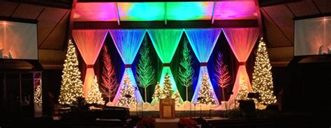 rainbow christmas church stage design ideas
