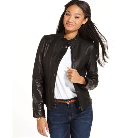 black moto jacket lyst tommy hilfiger leather moto jacket in black